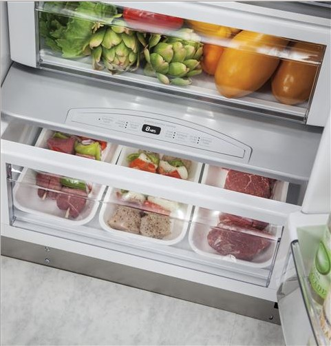 "ZISB480DK Monogram 48"" Built-In Side-by-Side Refrigerator with LED Lighting and WiFi Connect - Custom Panel"
