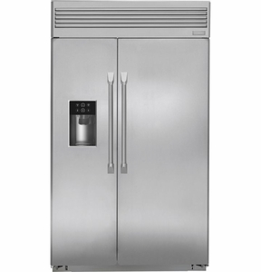 "ZISP480DHSS GE Monogram 48"" Built-In Professional Side-by-Side Refrigerator with Dispenser - Stainless Steel"