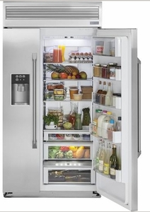 "ZISP480DKSS Monogram 48"" Professional Built-In Side-by-Side Refrigerator with LED Lighting and WiFi Connect - Stainless Steel"