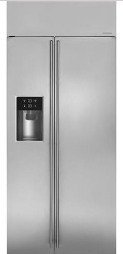 """ZISS360DKSS Monogram 36"""" Built-In Side-by-Side Refrigerator with LED Lighting and WiFi Connect - Stainless Steel"""