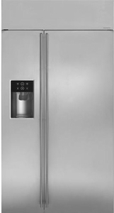 "ZISS420DKSS Monogram 42"" Built-In Side-by-Side Refrigerator with LED Lighting and WiFi Connect - Stainless Steell"