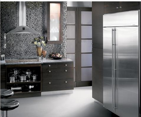 "ZISS420NKSS Monogram 42"" Built-In Side-by-Side Refrigerator with LED Lighting and WiFi Connect - Stainless Steel"