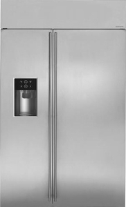 "ZISS480DKSS Monogram 48"" Built-In Side-by-Side Refrigerator with LED Lighting and WiFi Connect - Stainless Steel"