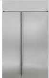 "ZISS480NKSS Monogram 48"" Built-In Side-by-Side Refrigerator with LED Lighting and WiFi Connect - Stainless Steel"