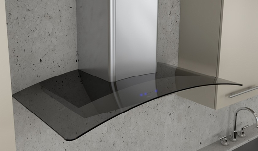 "ZRV-M90AGG Zephyr 36"" Ravenna Wall Hood with Smoke Gray Glass - Up to 600 CFM - Stainless Steel"