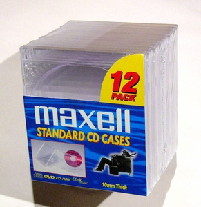 Maxell CD/DVD Clear Jewel Boxes 12 Pack
