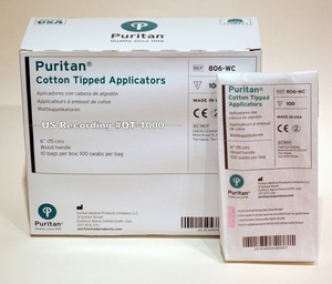 "Medical Grade Cotton Tipped Applicators USA Made 6"" Box of 1000 Wood Handled Puritan 806-WC"