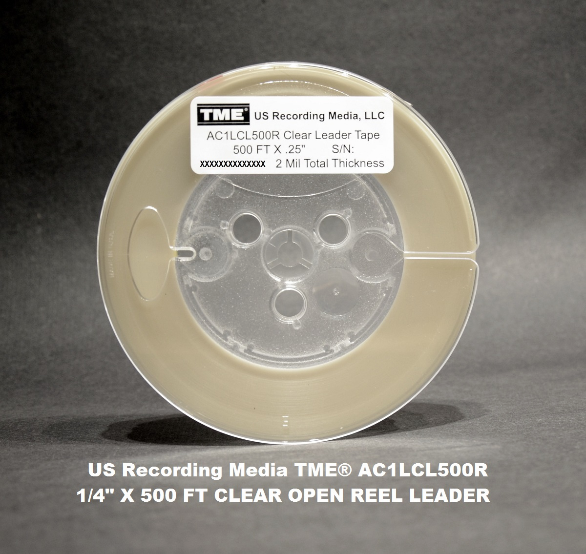 "TME™ Clear Optical Trigger Leader Tape 1/4"" X 500' on 5"" Reel"