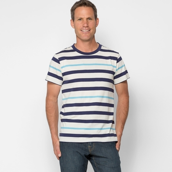 Alternative Apparel Cotton Modal Stripe Crew in Blue Stripe
