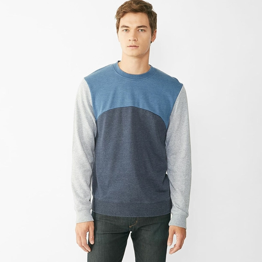 Alternative Apparel French Terry Color Blocked Crew ( Midnight )