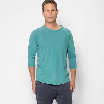 Alternative Apparel Washed Out Baseball Tee in Sea Green