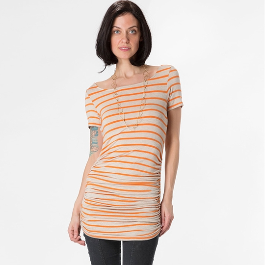 Amour Vert Connie Shirred Tunic ( Oatmeal/Orange Stripe )