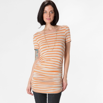 Amour Vert Connie Shirred Tunic in Oatmeal/Orange Stripe