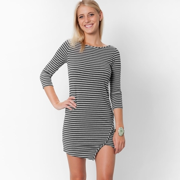 Amour Vert Kandy Stripe Dress in Gray Stripe