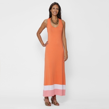 SALE / Amour Vert Racerback Maxi Dress in Salmon Stripe