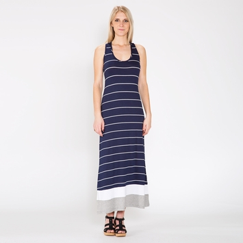Amour Vert Racerback Maxi Dress in Navy Stripe