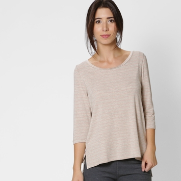 Amour Vert Leonie Striped Top in Oatmeal Milan