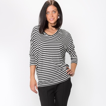 Amour Vert Zoe Top in Black/White Stripe