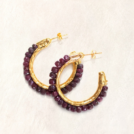 Avindy Gemstone and Vermeil Hoop Earrings ( Ruby )