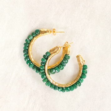 Avindy Gemstone and Vermeil Hoop Earrings in Emerald