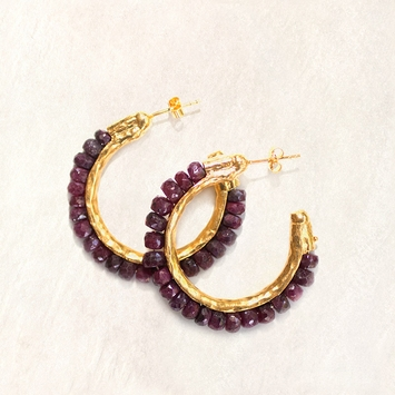 Avindy Gemstone and Vermeil Hoop Earrings in Ruby