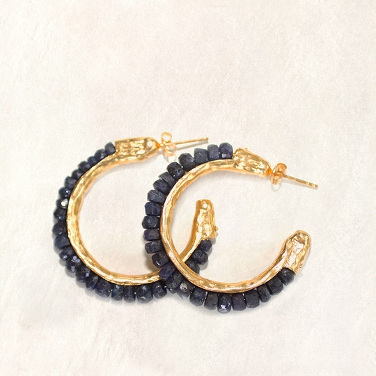 Avindy Gemstone and Vermeil Hoop Earrings ( Sapphire )