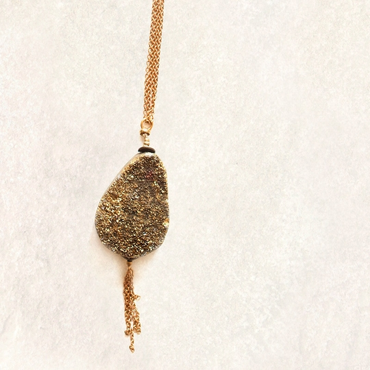Avindy Gold Druzy Dramatic Teardrop Necklace
