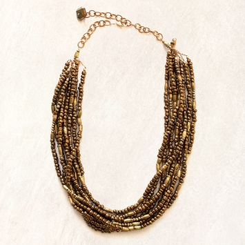 Avindy Layered Bronze Beaded Necklace