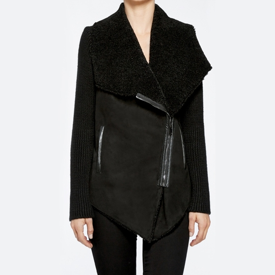 BlankNYC Shawl Collar Faux Suede Jacket ( Black )