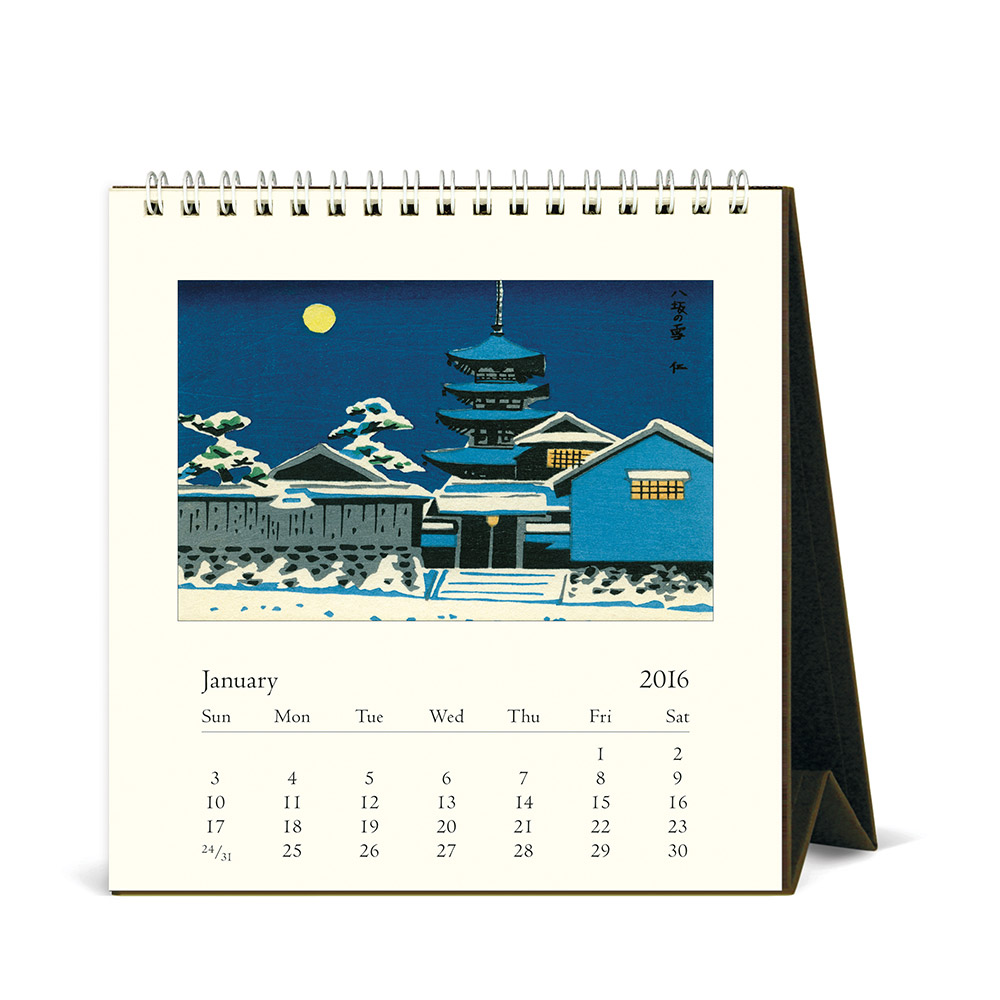 Cavallini Papers 2016 Desk Calendar Japanese Woodblocks