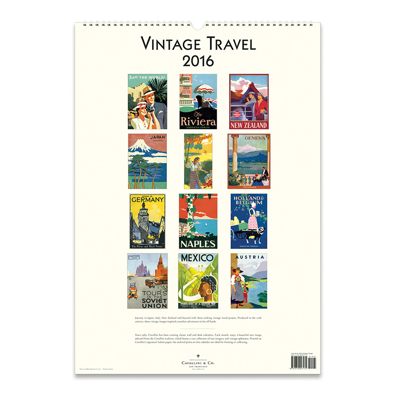 Calendar Vintage Travel Posters : Cavallini papers wall calendar vintage travel