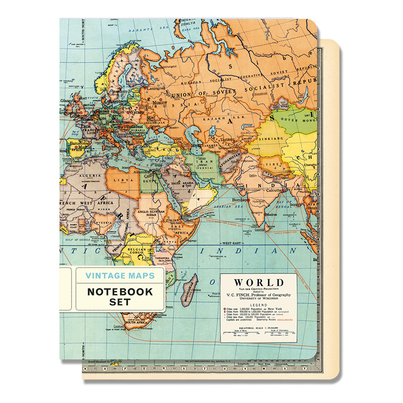 Large Vintage Map Of The World.Cavallini Vintage Maps Large Notebook Set 5 5 X 7 25 Eco Paper At