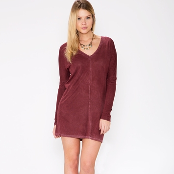 Cotton Citizen Long Sleeved Mini Dress in Brown/Burgundy
