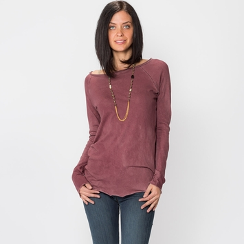 SALE / Cotton Citizen Raw Raglan Edge Long Sleeve Tee in Brown/Burgundy