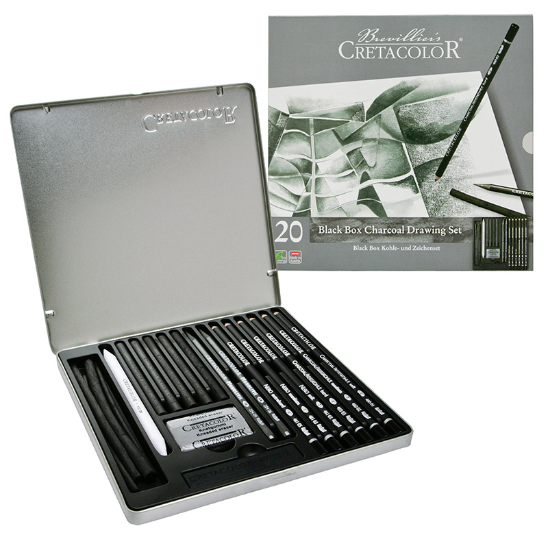 cretacolor black tin box drawing charcoal amp pencil set
