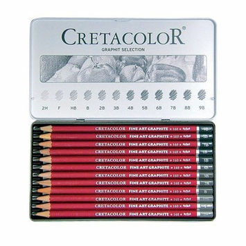 Cretacolor Fine Art Red Graphite Pencil Tin (Set of 12)