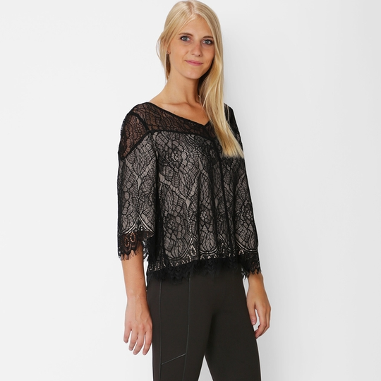 Ella Moss Lace Flutter Sleeve Top ( Black )