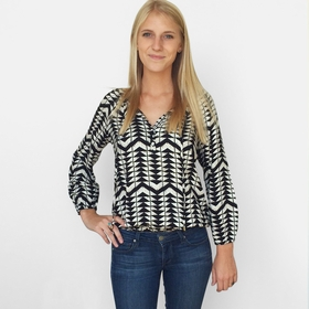 Ella Moss Geo Print Blouse in Black