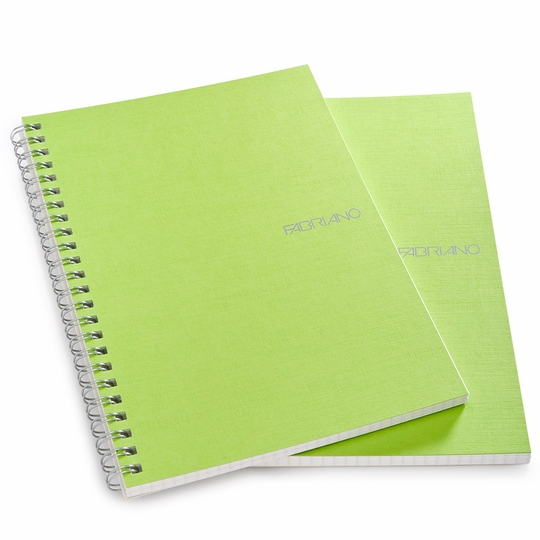 Fabriano EcoQua Side Spiralbound Graph Notebook (Set of 2) (5.8 x 8.25) ( Lime )