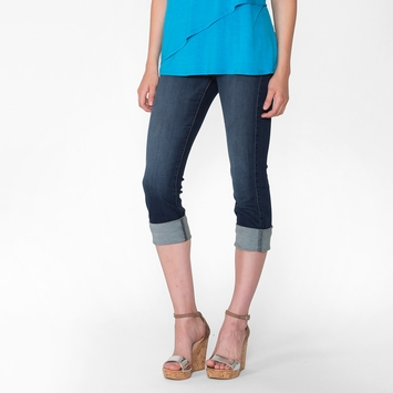 Fidelity Denim Stevie Mid Rise Capri Jean in Starlet Dark Denim