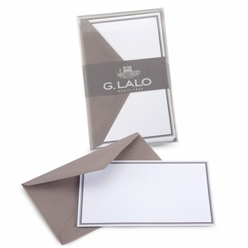 G. Lalo Double Bordered Correspondence Sets (3.25 x 5.25) in Taupe