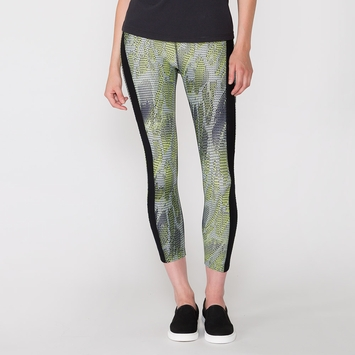 Koral Activewear Dynamic Duo Cropped Legging in Radial/ Black