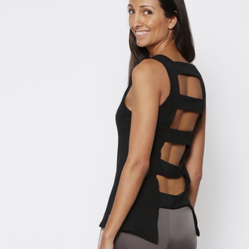 Koral Ladder Back Sleeveless Top in Black/Black