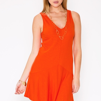 Lanston Drop Waist Dress in Orange
