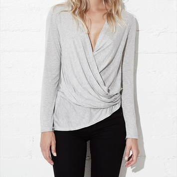 Lanston Long Sleeve Asymmetrical Surplice Top in Heather