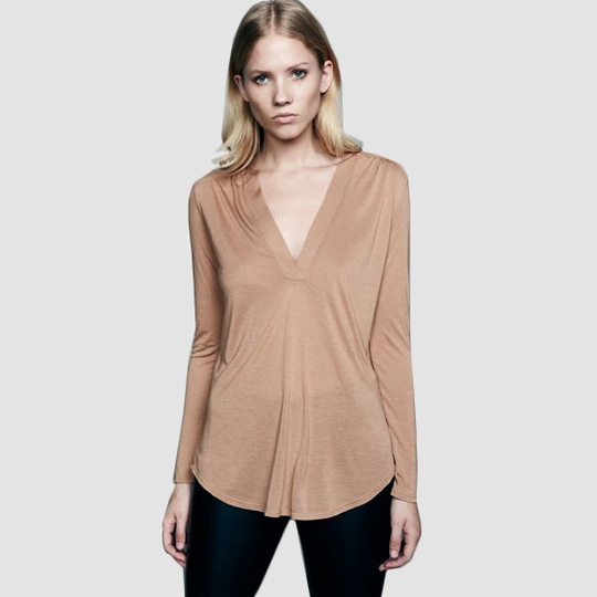 Lanston Long Sleeve Deep V Tunic ( Camel )