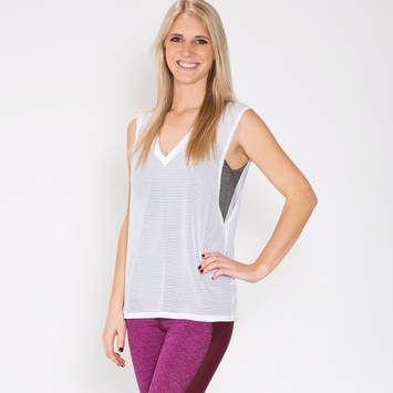Lanston Sport Mesh Muscle Tee in White