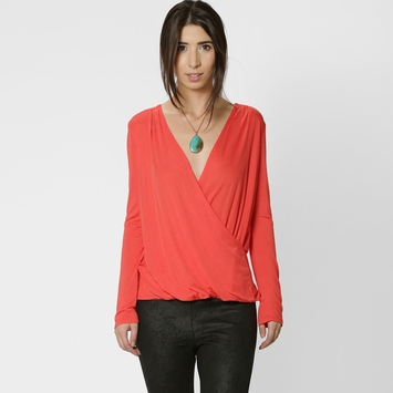 Lanston Surplice Long Sleeve Shirt in Tangerine