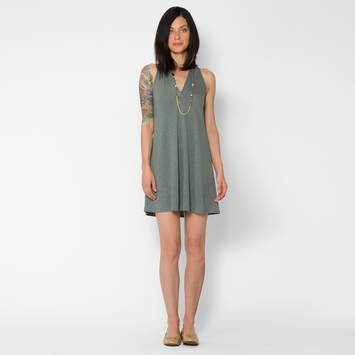 Lanston V Racerback Mini Dress in Moss