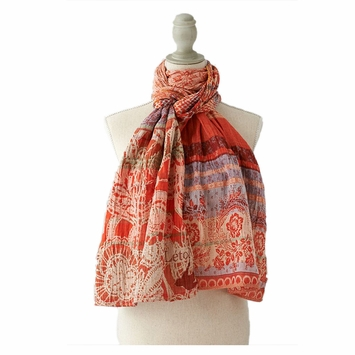 Organic Letol Woven Jacquard Scarf in Denise Print